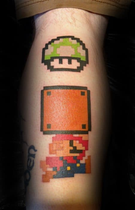 Super Mario Brothers Themed Guys Back Of Leg 8 Bit Tattoos