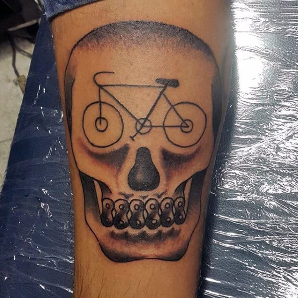 Superb Bicycle Skull Tattoo For Men On Legs