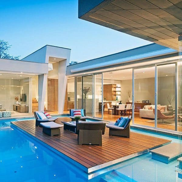 Superb Floating Deck Modern Pool Ideas