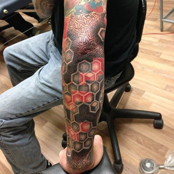 Superb Gray And Red Honeycomb Tattoo Male Full Sleeves