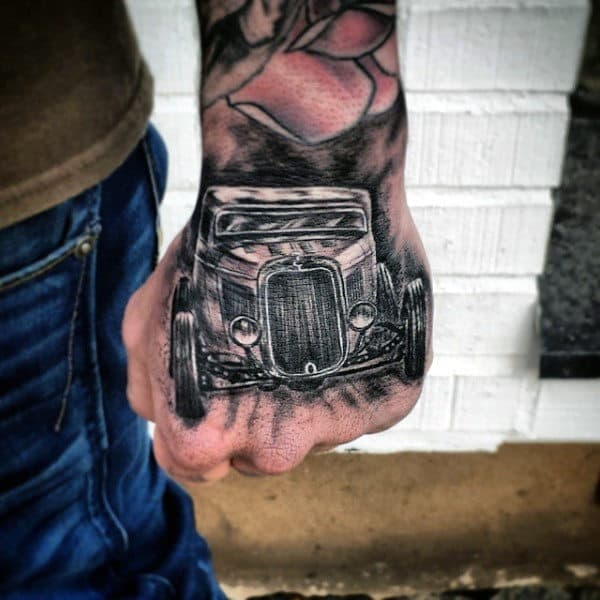 Superb Hot Rod Tattoo Male Hands