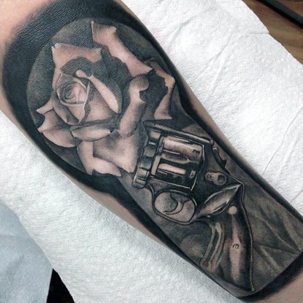 Superb Pistol And Rose Tattoo Half Sleeve Guys