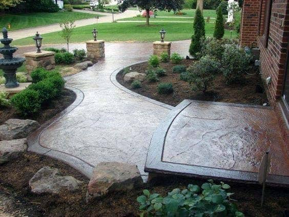 Superb Stained Concrete Walkway Ideas