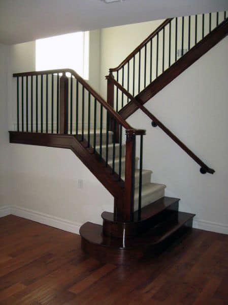 Superb Stained Wood Basement Stairs Ideas
