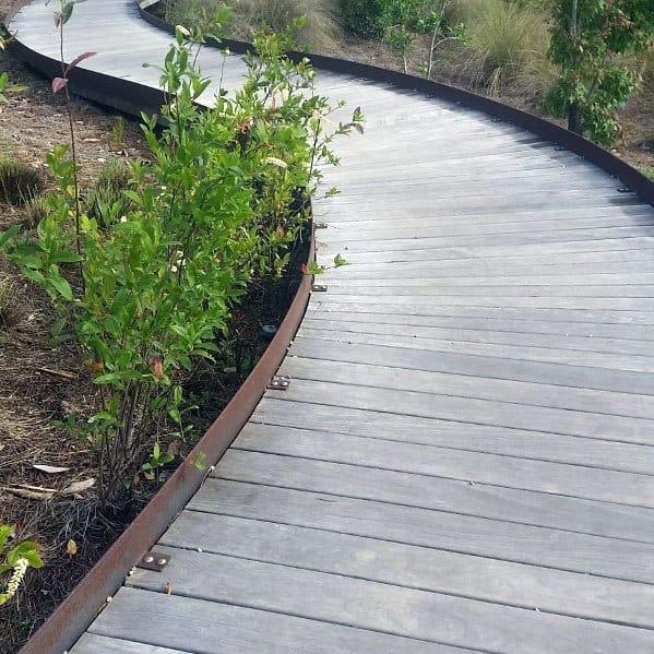 40 Different Garden Pathway Ideas: Top 50 Best Wooden Walkway Ideas