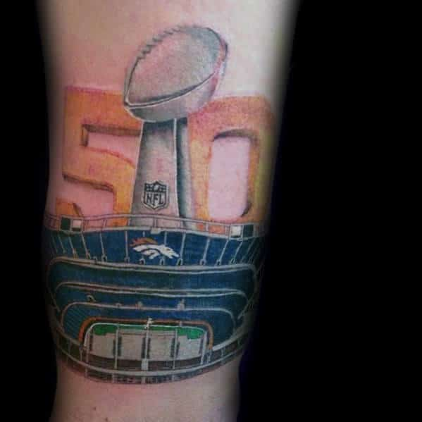 Superbowl 50 Denver Broncos Mens Forearm Tattoo