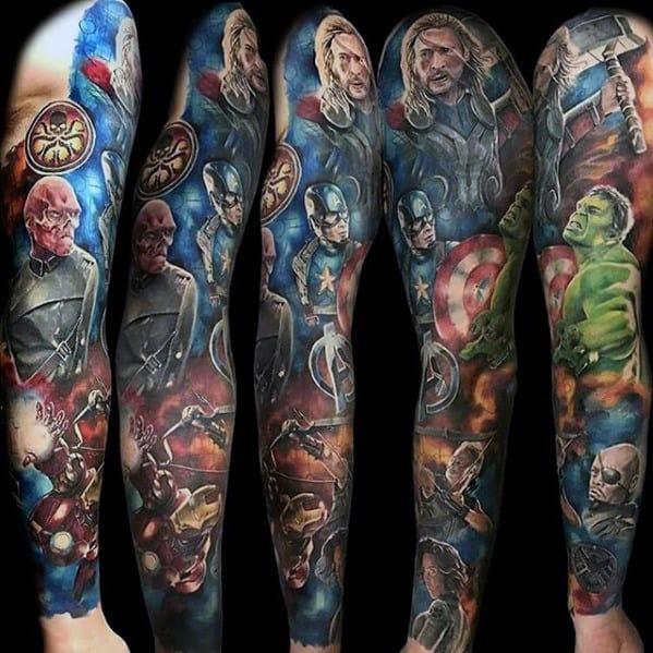 Superhero Character Themed Guys Marvel Full Sleeve Tattoo Ideas