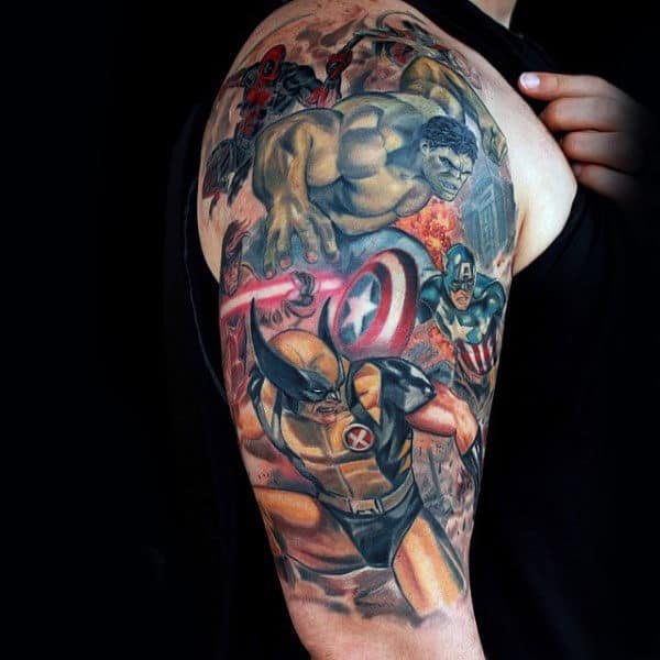 Superhero Themed Mens Half Sleeve Wolverine Watercolor Tattoo Designs