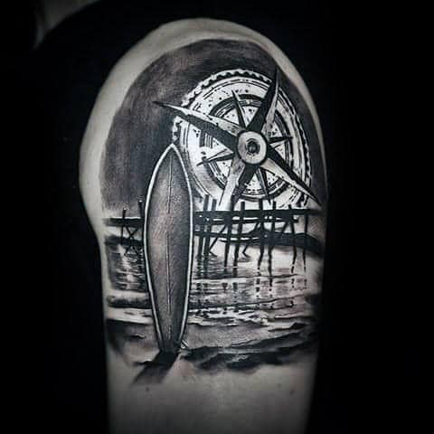 Surf Board And Huge Compass Tattoo Male Arms
