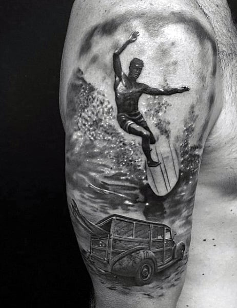Surfer Ocean Wave Tattoos For Males