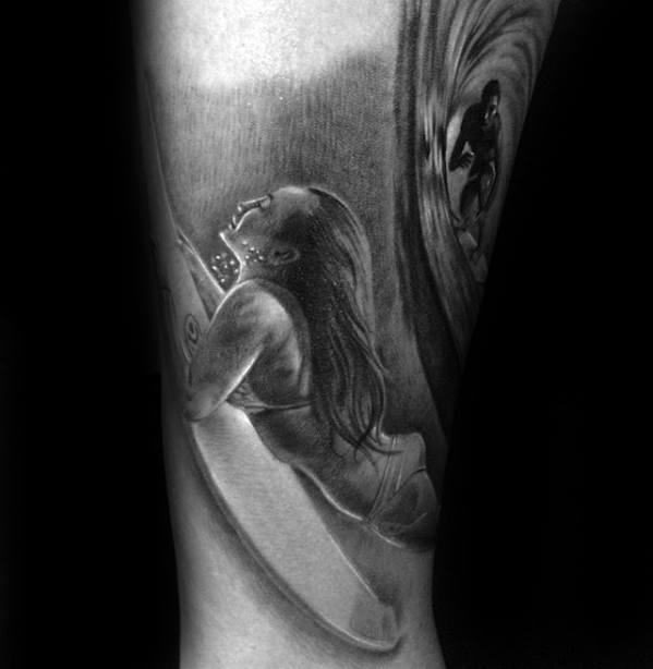 Surfer Sports Tattoo Ideas For Gentlemen On Leg