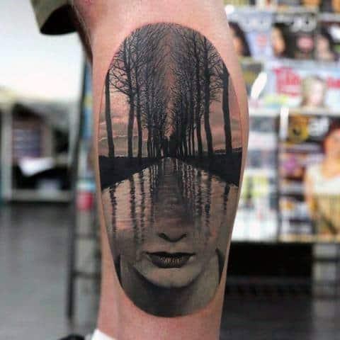 Surrealism Guys Leg Calf 3d Optical Illusion Tattoo Designs