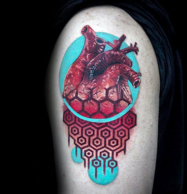 Surrealism Heart Tattoo Ideas For Gentlemen