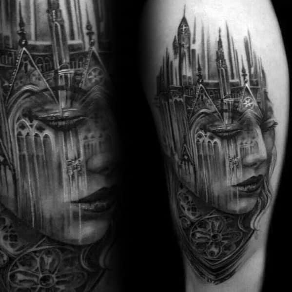 Surrealism Tattoo Design On Man