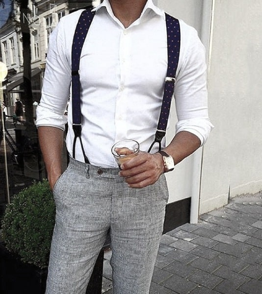 Suspenders White Dress Shirt Male Trendy Outfits Styles