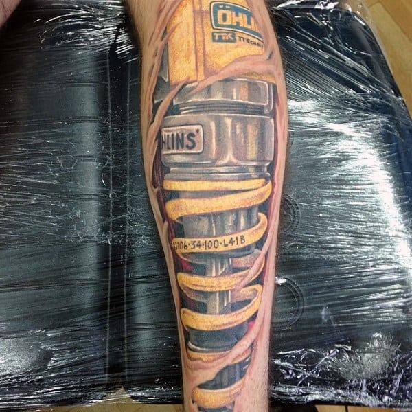 Suspension Shock Cool Motocross Tattoos On Guys Leg