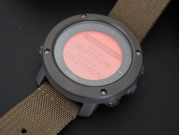 Suunto Traverse Alpha Orange Backlight On Dial With Geo Coordinates
