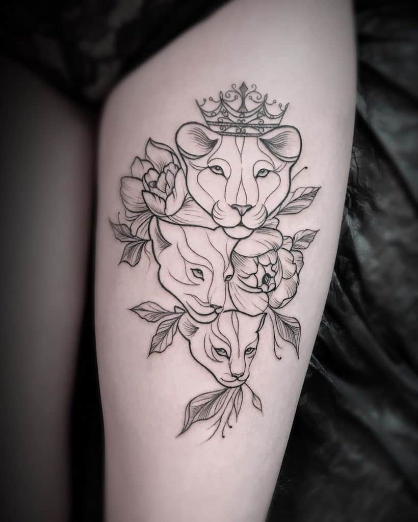 Sweden Fine Line Art Lion Tattoo