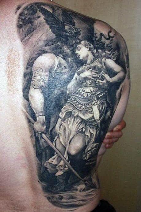 Swedish Viking Men's Tattoos On Back Side