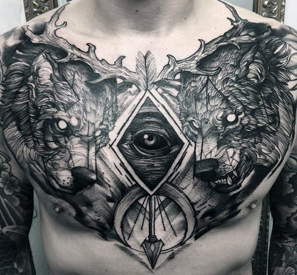 a734bb5b8c9c0 Sweet Guys Sketched All Seeing Eye Wolves Chest Tattoo