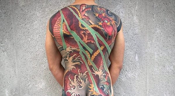 Sweet Male Dragon Japanese Full Back Tattoos