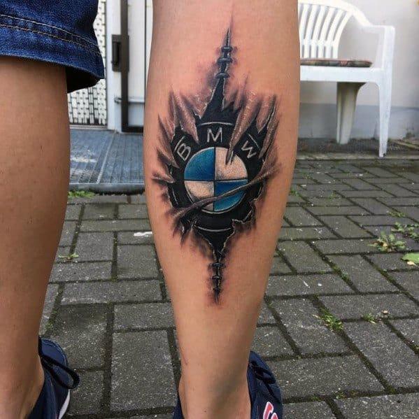 Sweet Mens Bmw Tattoo Ideas On Leg Calf