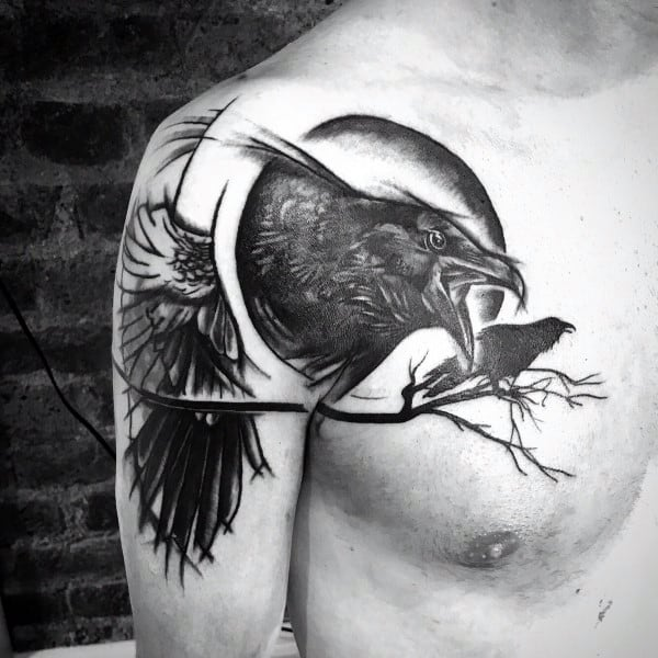 Raven Tattoo Designs Solid Black