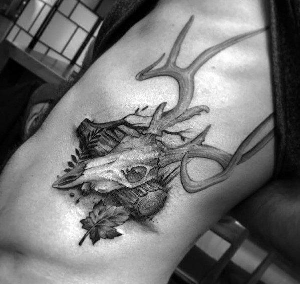 Sweet Mens Elk Tattoo Ideas Rib Cage Side Of Body