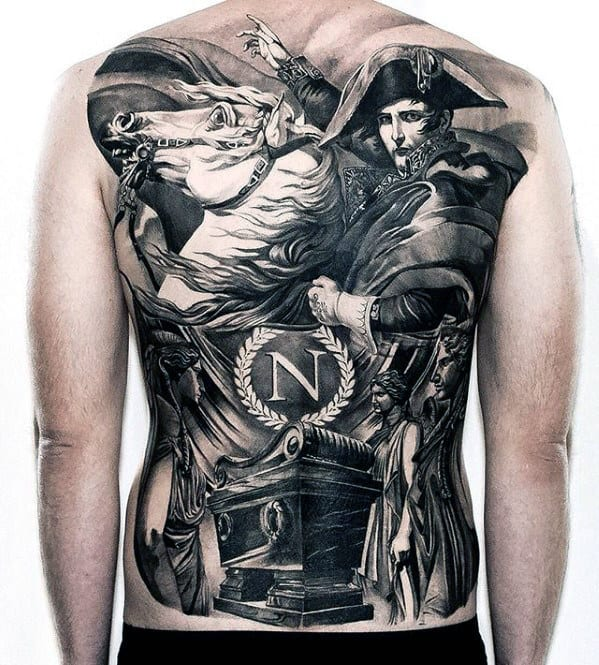 Sweet Mens Horseriding Roman Full Back Tattoo With Black And White Design