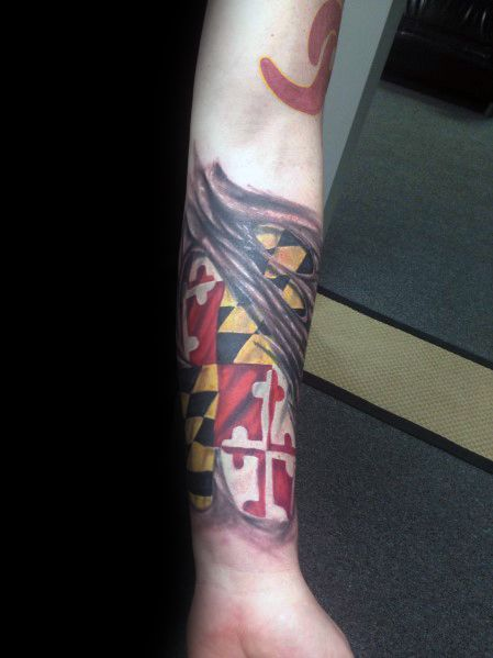 Sweet Mens Maryland Flag Tattoo Ideas
