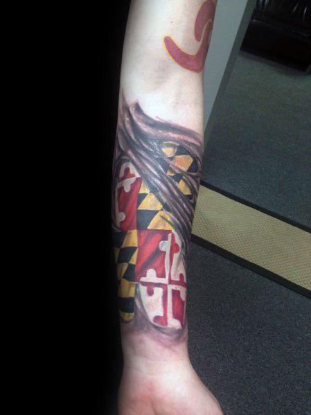 Sweet Mens Maryland Flag Tattoo Ideas