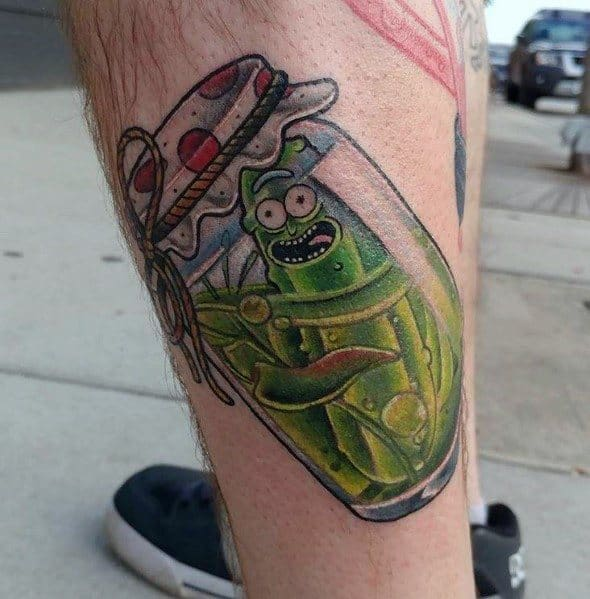 Sweet Mens Pickle Rick Tattoo Ideas On Side Of Leg
