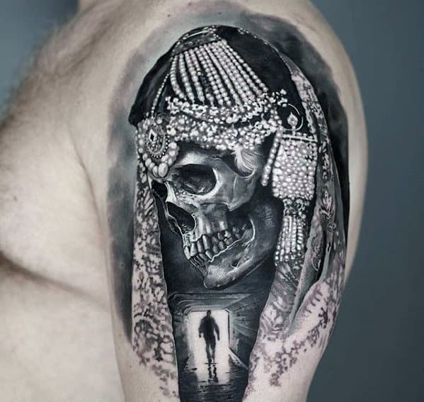 Sweet Mens Quarter Sleeve Tunnel With Skull 3d Tattoo