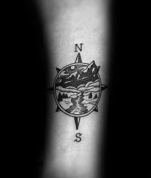 Sweet Mens Small Compass Tattoo Ideas