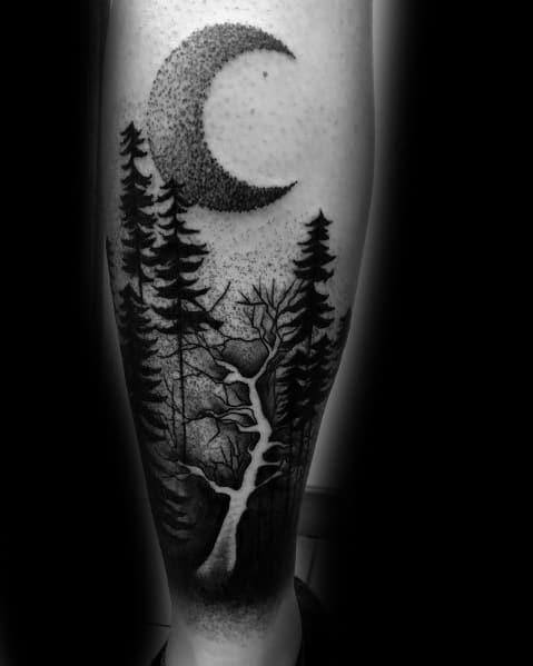 Sweet Mens Tree Leg Tattoo Ideas
