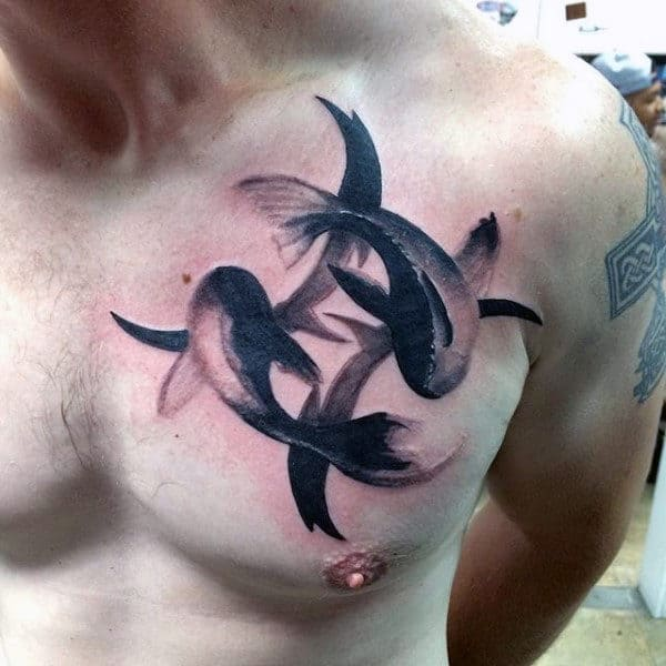 Swimming Fish Mens Watercolor Pisces Chest Tattoos