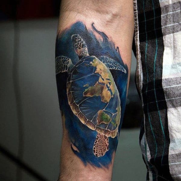 Swimming Realistic Turtle Mens Colorful Inner Forearm Tattoo Deisgns
