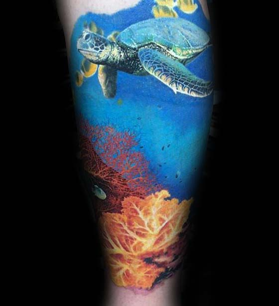 Swimming Turtle Above Coral Reef Guys Ocean Tattoo Sleeve Designs