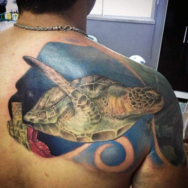 Swimming Turtle Negative Space Blue Ink Waves Mens Upper Back Tattoos