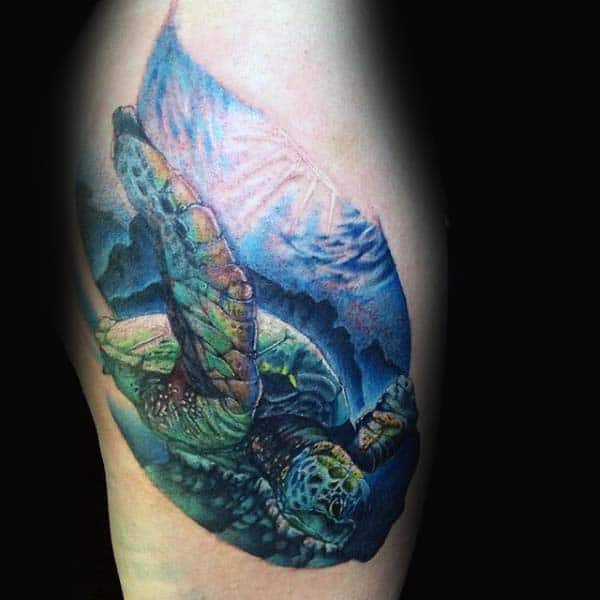 Swimming Turtle Tattoo On Thigh For Guys