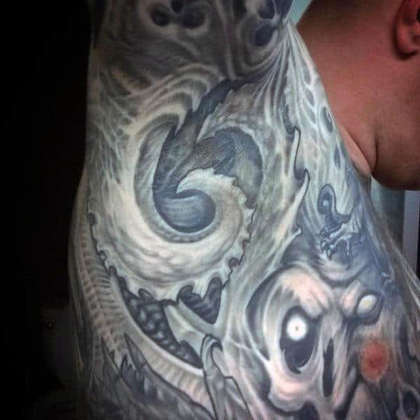 Swirly Grey Tattoo On Male Armpit