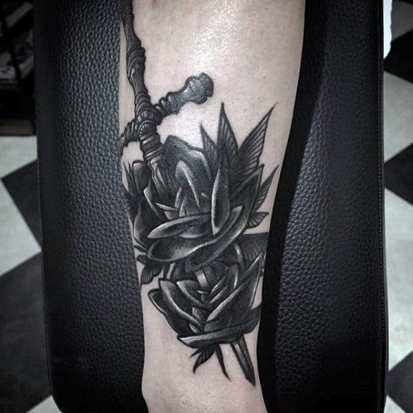 Sword And Shield Tattoos For Men