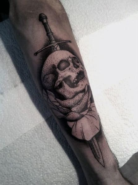 Sword And Skull Tattoo For Males