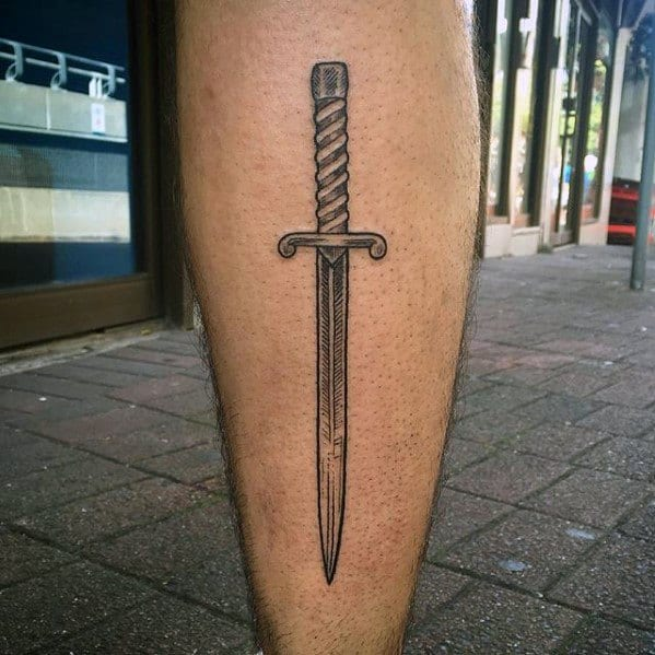Sword Awesome Simple Mens Back Of Leg Tattoo