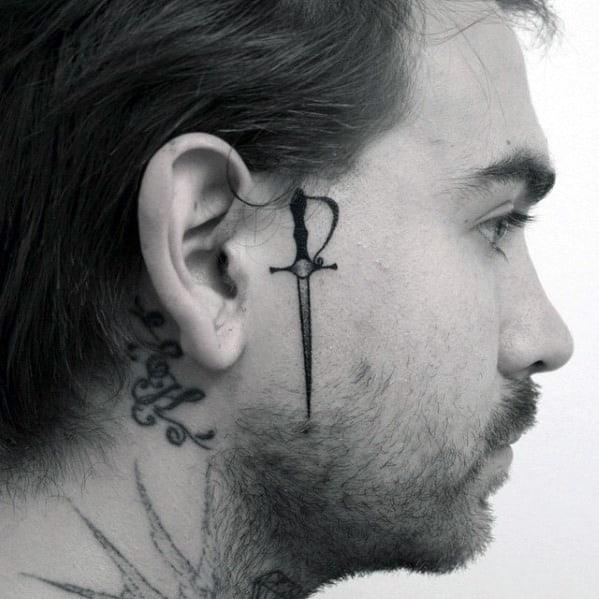Sword Coolest Small Mens Head Tattoo Designs
