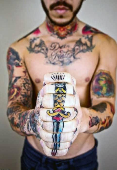 Sword Fingers Mens Optical Illusion Tattoo Idea