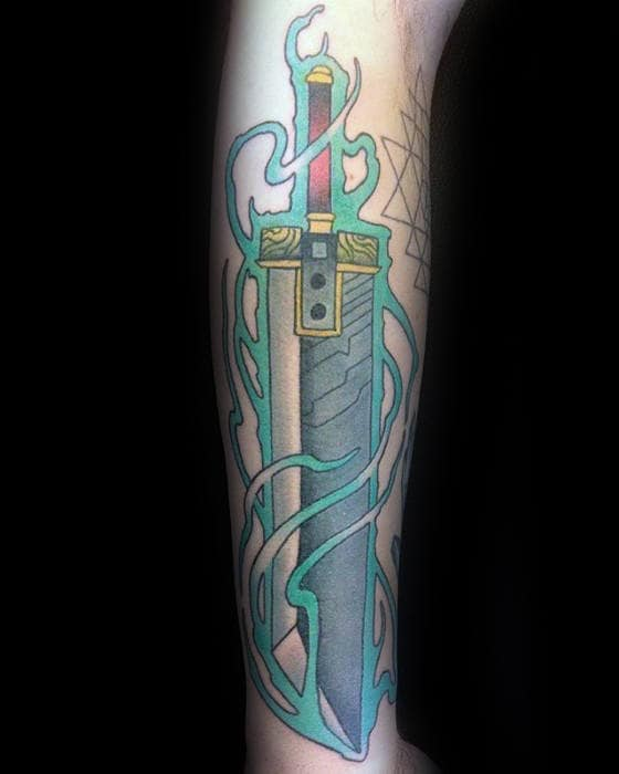 sword final fantasy mens watercolor arm tattoo
