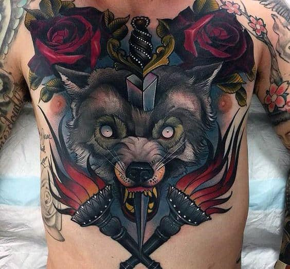 Sword Through Wolf With Flaming Torches Mens Full Chest Tattoo Designs