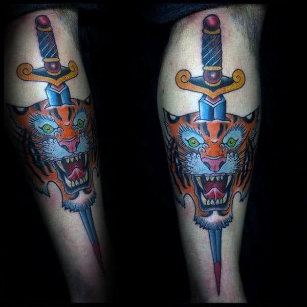 Sword Tiger Male Full Arm Traditional Tattoos