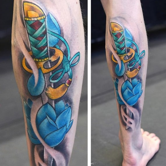 Sword With Blue Lotus Flower Mens Leg Tattoos